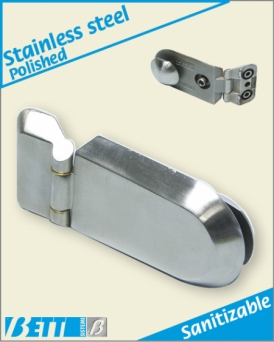 Weldable hinge with locking system with Pharma-type button