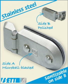 Weldable hinge with locking system with Pharma-type plate