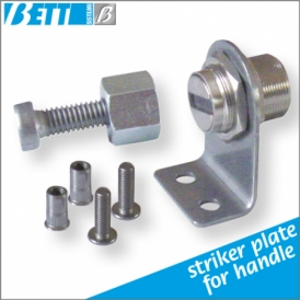 For swing doors with striker plate for handle