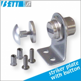 For swing doors without frame with button striker plate