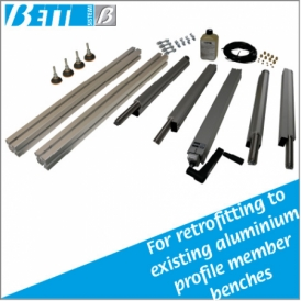 Auxiliary adjustable leg kit for aluminium profile member benches with 8 mm groove