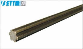 Steel grooved shaft with parallel sides